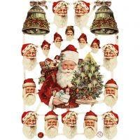 Découpes vintage, pères Noël et cloches, 16,5x23,5 cm, 3 flles/ 1 Pq.