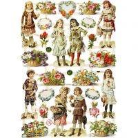 Découpes vintage, enfants et fleurs, 16,5x23,5 cm, 3 flles/ 1 Pq.
