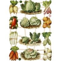 Découpes vintage, légumes, 16,5x23,5 cm, 3 flles/ 1 Pq.