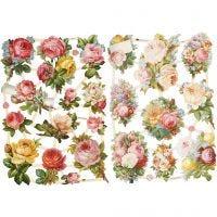 Découpes vintage, roses, 16,5x23,5 cm, 2 flles/ 1 Pq.