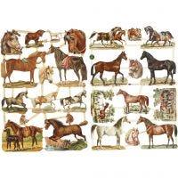 Découpes vintage, chevaux, 16,5x23,5 cm, 2 flles/ 1 Pq.