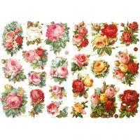 Découpes vintage, assortiment de roses, 16,5x23,5 cm, 2 flles/ 1 Pq.