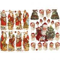 Découpes vintage, Le Père Noël avec des cadeaux, 16,5x23,5 cm, 2 flles/ 1 Pq.