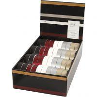 Ruban cadeau, L: 18 mm, couleurs assorties, 40x25 m/ 1 Pq.