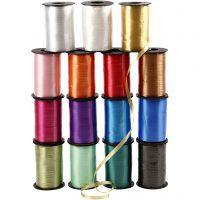 Ruban cadeau, L: 10 mm, brillante, couleurs assorties, 15x250 m/ 1 Pq.
