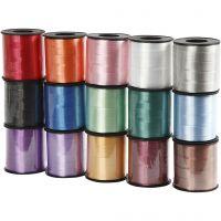 Ruban cadeau, L: 10 mm, brillante, couleurs assorties, 15x50 m/ 1 Pq.