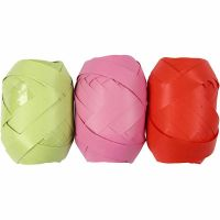 Ruban cadeau, L: 10 mm, vert citron, rose, rouge, 3x10 m/ 1 Pq.