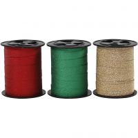 Ruban cadeau, L: 10 mm, paillettes, or, vert, rouge, 3x15 m/ 1 Pq.