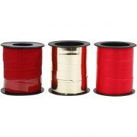Ruban cadeau, L: 10 mm, or, rouge, glitter rouge, 3x15 m/ 1 Pq.