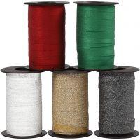 Ruban cadeau, L: 10 mm, paillettes, couleurs assorties, 5x100 m/ 1 Pq.