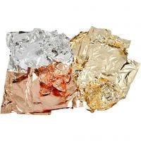 Imitation feuille métal, 16x16 cm, copper, or, argent, 3x50 flles/ 1 Pq.