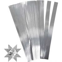 Bandes de papier étoiles, L: 45 cm, L: 10 mm, d: 4,5 cm, argent, 100 bandes/ 1 Pq.