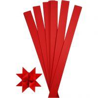 Bandes de papier étoiles, L: 73 cm, d: 11,5 cm, L: 25 mm, rouge, 100 bandes/ 1 Pq.