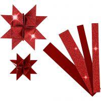 Bandes de papier étoiles, L: 44+78 cm, d: 6,5+11,5 cm, L: 15+25 mm, paillettes,vernis, rouge, 40 bandes/ 1 Pq.