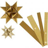 Bandes de papier étoiles, L: 44+78 cm, d: 6,5+11,5 cm, L: 15+25 mm, paillettes,vernis, or, 40 bandes/ 1 Pq.
