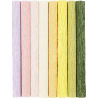 Papier crépon, 25x60 cm, Crêpé à 180%, 105 gr, couleurs pastel, 8 flles/ 1 Pq.
