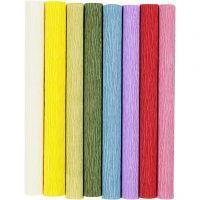 Papier crépon, 25x60 cm, Crêpé à 180%, 105 gr, couleurs classiques, 8 flles/ 1 Pq.