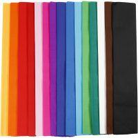 Papier crépon, L: 2,5 m, L: 50 cm, 22 gr, couleurs assorties, 15 pli/ 1 Pq.