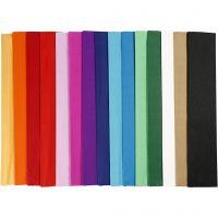 Papier crépon, L: 2,5 m, L: 50 cm, 22 gr, couleurs assorties, 60 pli/ 1 Pq.