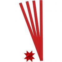 Bandes de papier étoiles, L: 45 cm, d: 4,5 cm, L: 10 mm, rouge, 100 bandes/ 1 Pq.