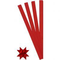 Bandes de papier étoiles, L: 45 cm, d: 6,5 cm, L: 15 mm, rouge, 100 bandes/ 1 Pq.