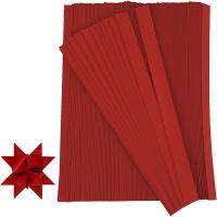 Bandes de papier étoiles, L: 45 cm, L: 15 mm, d: 6,5 cm, rouge, 500 bandes/ 1 Pq.