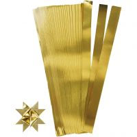Bandes de papier étoiles, L: 45 cm, d: 6,5 cm, L: 15 mm, or, 100 bandes/ 1 Pq.