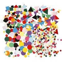 Mosaïques en papier cartonné, dim. 10+15+20 mm, couleurs assorties, 8x180 gr/ 1 Pq.
