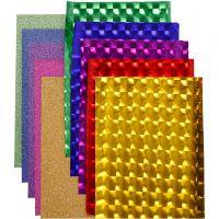 Film pailleté 3D - Assortiment, L: 35 cm, ép. 30+110 my, couleurs assorties, 10x2 m/ 1 Pq.