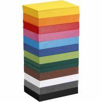 Papier cartonné coloré, A6, 105x148 mm, 180 gr, couleurs assorties, 12x100 flles/ 1 Pq.