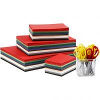 Papier cartonné de Noël avec ciseaux, A3,A4,A5,A6, 180 gr, couleurs assorties, 1 set