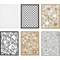 Bloc de papier cartonné avec des motifs façon dentelle, A6, 104x146 mm, 200 gr, noir, naturel, gris, blanc, 24 pièce/ 1 Pq.