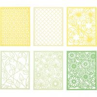Bloc de papier cartonné avec des motifs façon dentelle, A6, 104x146 mm, 200 gr, vert, vert clair, jaune, jaune clair, 24 pièce/ 1 Pq.
