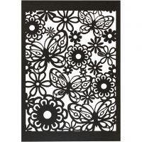 Papier cartonné motif dentelle, 10,5x15 cm, 200 gr, noir, 10 pièce/ 1 Pq.