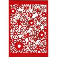Papier cartonné motif dentelle, 10,5x15 cm, 200 gr, rouge, 10 pièce/ 1 Pq.