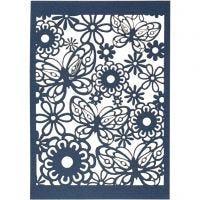 Papier cartonné motif dentelle, 10,5x15 cm, 200 gr, bleu, 10 pièce/ 1 Pq.