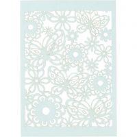 Papier cartonné motif dentelle, 10,5x15 cm, 200 gr, bleu clair, 10 pièce/ 1 Pq.
