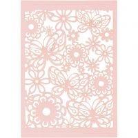 Papier cartonné motif dentelle, 10,5x15 cm, 200 gr, rouge clair, 10 pièce/ 1 Pq.