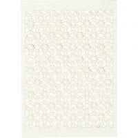 Papier cartonné motif dentelle, 10,5x15 cm, 200 gr, blanc cassé, 10 pièce/ 1 Pq.