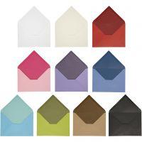 Enveloppe, dimension enveloppes 11,5x16 cm, Le contenu peut varier , 100 gr, couleurs assorties, 30 Pq./ 1 Pq.