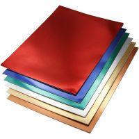 Papier métallisé, A4, 210x297 mm, 280 gr, couleurs assorties, 30 flles ass./ 1 Pq.