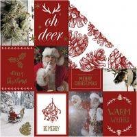 Papier Design, Motifs de Noël et cônes, 180 gr, or, rouge, 3 flles/ 1 Pq.