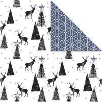 Papier Design, rennes et motifs, 180 gr, noir, argent, blanc, 3 flles/ 1 Pq.