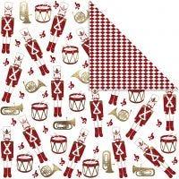 Papier Design, casse-noisette, 180 gr, or, rouge, blanc, 3 flles/ 1 Pq.