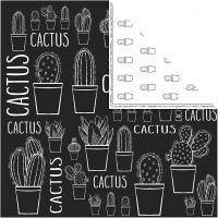 Papier Design, cactus, 180 gr, 5 flles/ 1 Pq.