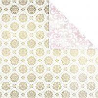 Papier Design, carreaux et aquarelles, 30,5x30,5 cm, 180 gr, or, blanc, 3 flles/ 1 Pq.