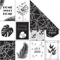 Papier Design, feuilles et motif, 180 gr, 5 flles/ 1 Pq.