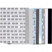 Bloc de papier design, dim. 21x30 cm, 120+128 gr, noir, bleu, gris, blanc, 24 flles/ 1 Pq.
