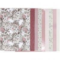Bloc de papier design, dim. 21x30 cm, 120+128 gr, beige, brun, rose, blanc, 24 flles/ 1 Pq.