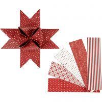 Bandes de papier étoiles, L: 100 cm, d: 18 cm, L: 40 mm, rouge, blanc, 40 bandes/ 1 Pq.